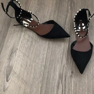 Zara black flats with pearl details